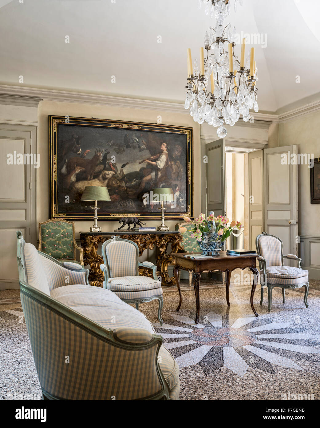 Gingham Chairs And Sofa With Large Artwork In Mosaic Tiled Interior Of 18th  Century Chateaux, St Remy De Provence