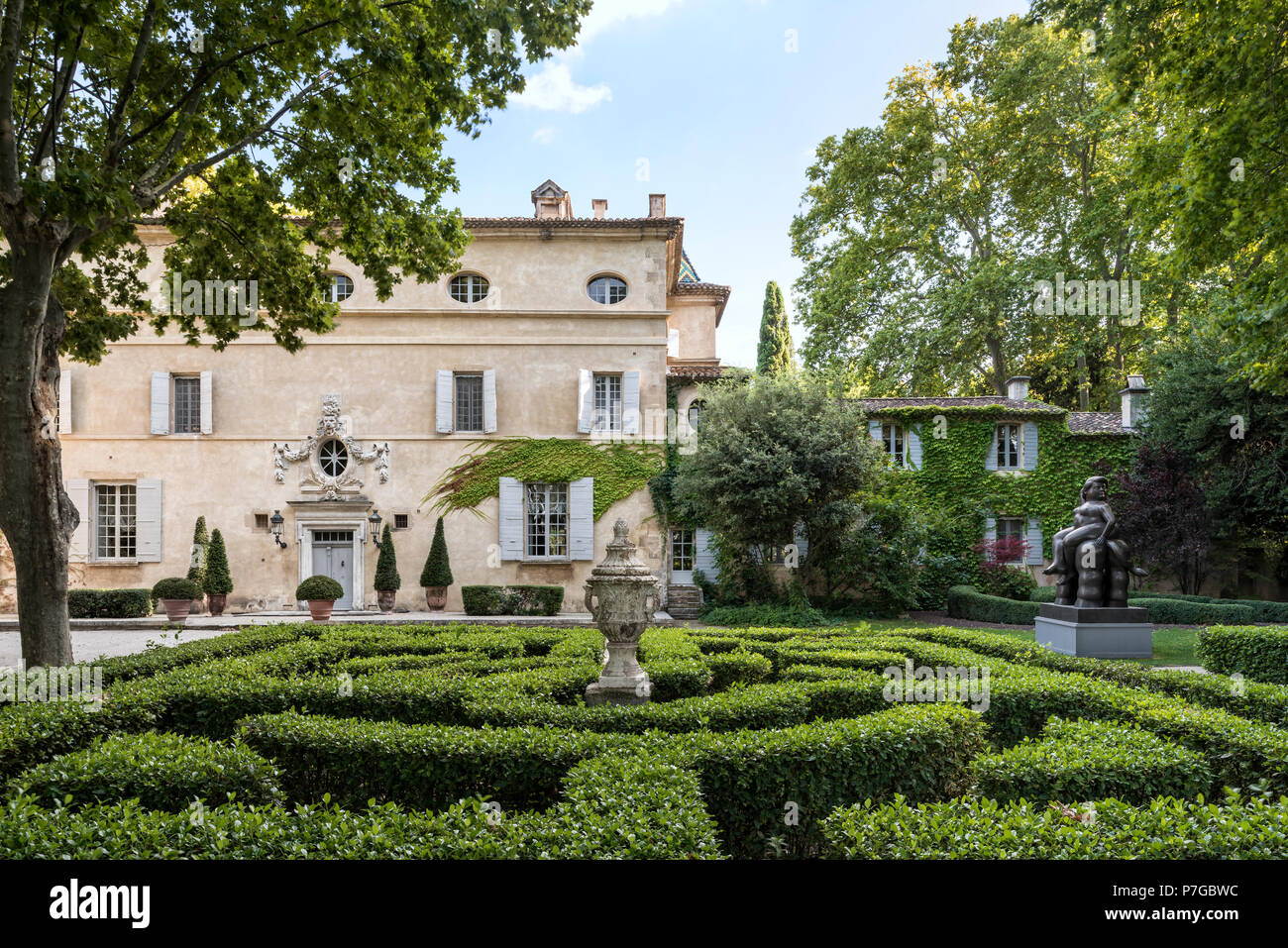 Exterior facade and grounds of 18th century chateaux in St Remy de Provence - Stock Image