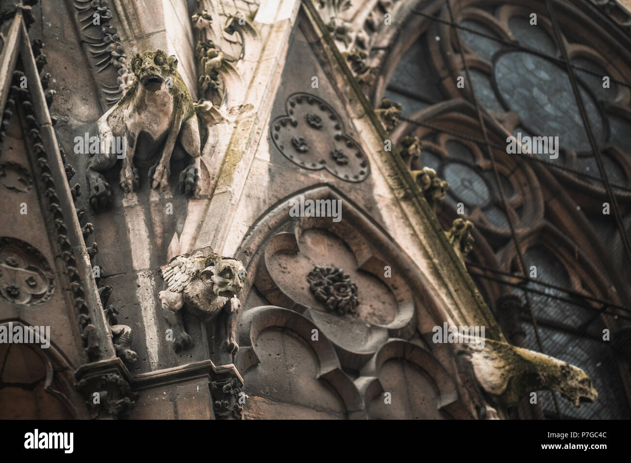 Gargoyles on Notre Dame Cathedral in Pairs, France. - Stock Image