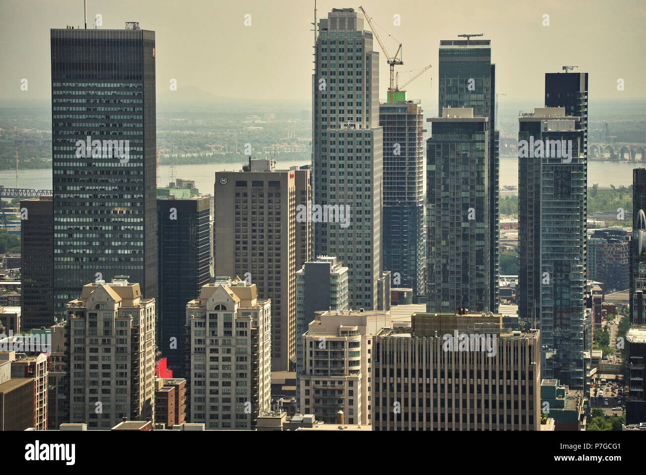 Montreal,Canada, July 5, 2018.View of Montreal's downtown core during a heat wave in the city.Credit Mario Beauregard/Alamy Live News - Stock Image
