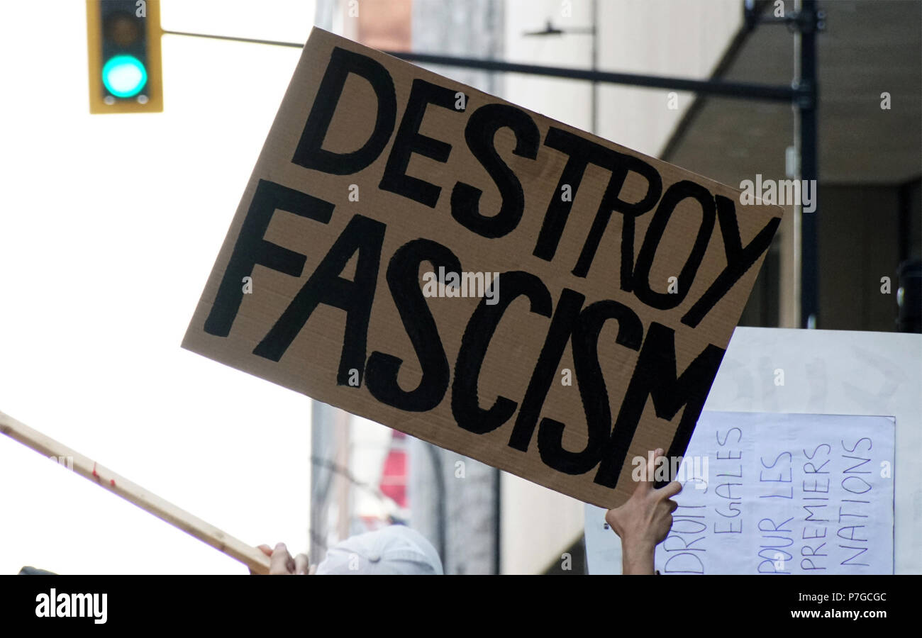 Montreal, Canada, July 1, 2018.Protest demonstration against racism. Credit Mario Beauregard/Alamy Live News - Stock Image