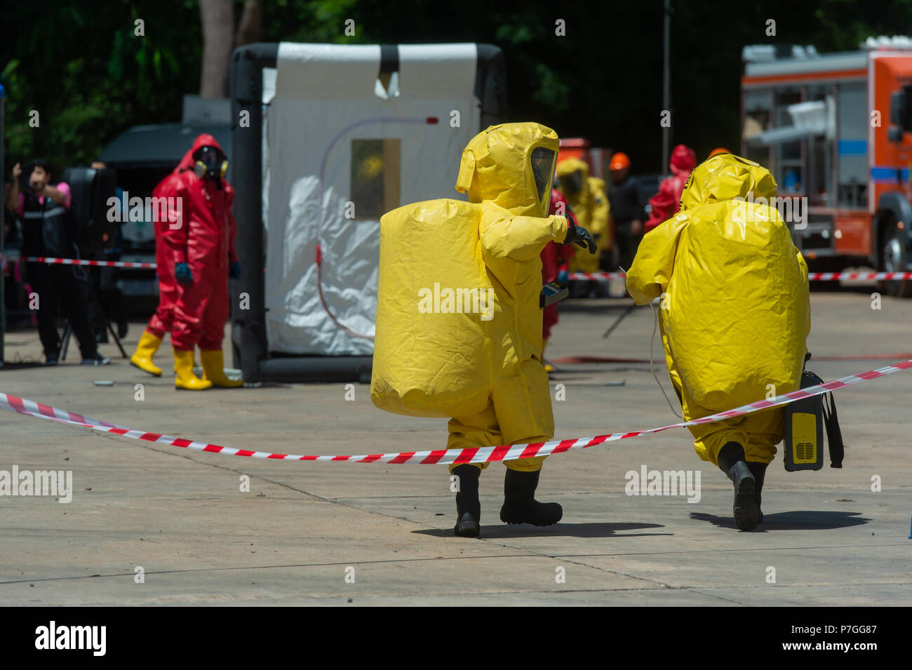Fireman and hazard protection suit - Stock Image