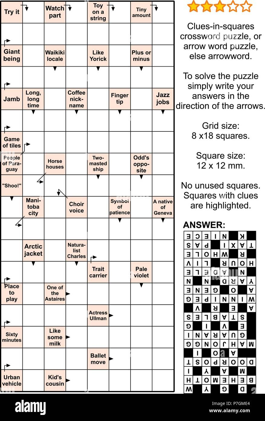 Crossword Puzzle Clues Clue Answers Answer High Resolution Stock Photography And Images Alamy