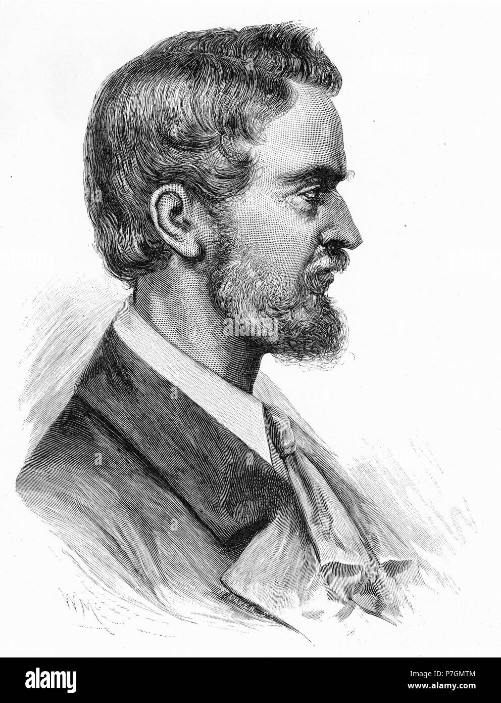Engraving of the German explorer Friedrich Willem Ludwig Leichhardt (1813-48) famed for his expeditions into central Australia. From the Picturesque Atlas of Australasia Vol 2, 1886 - Stock Image