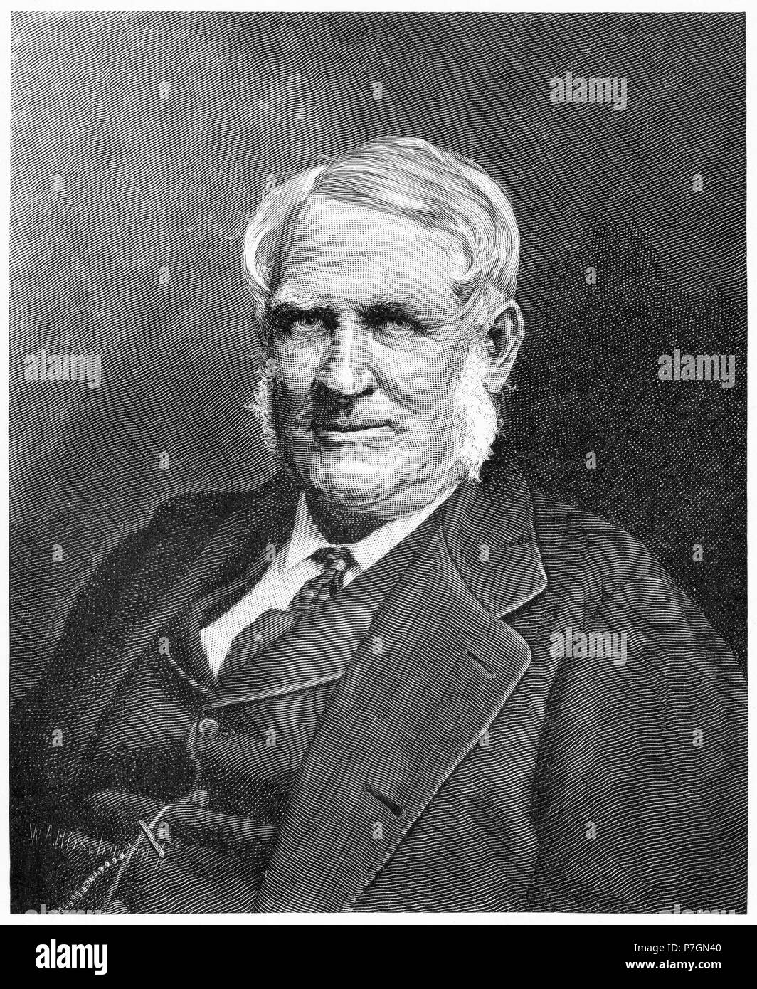 Engraving of Sir George Ferguson Bowen, GCMG,  (1821 – 1899) British author and colonial administrator of the Ionian Islands, Queensland, New Zealand, Victoria, Mauritius and Hong Kong. From the Picturesque Atlas of Australasia Vol 2, 1886 - Stock Image