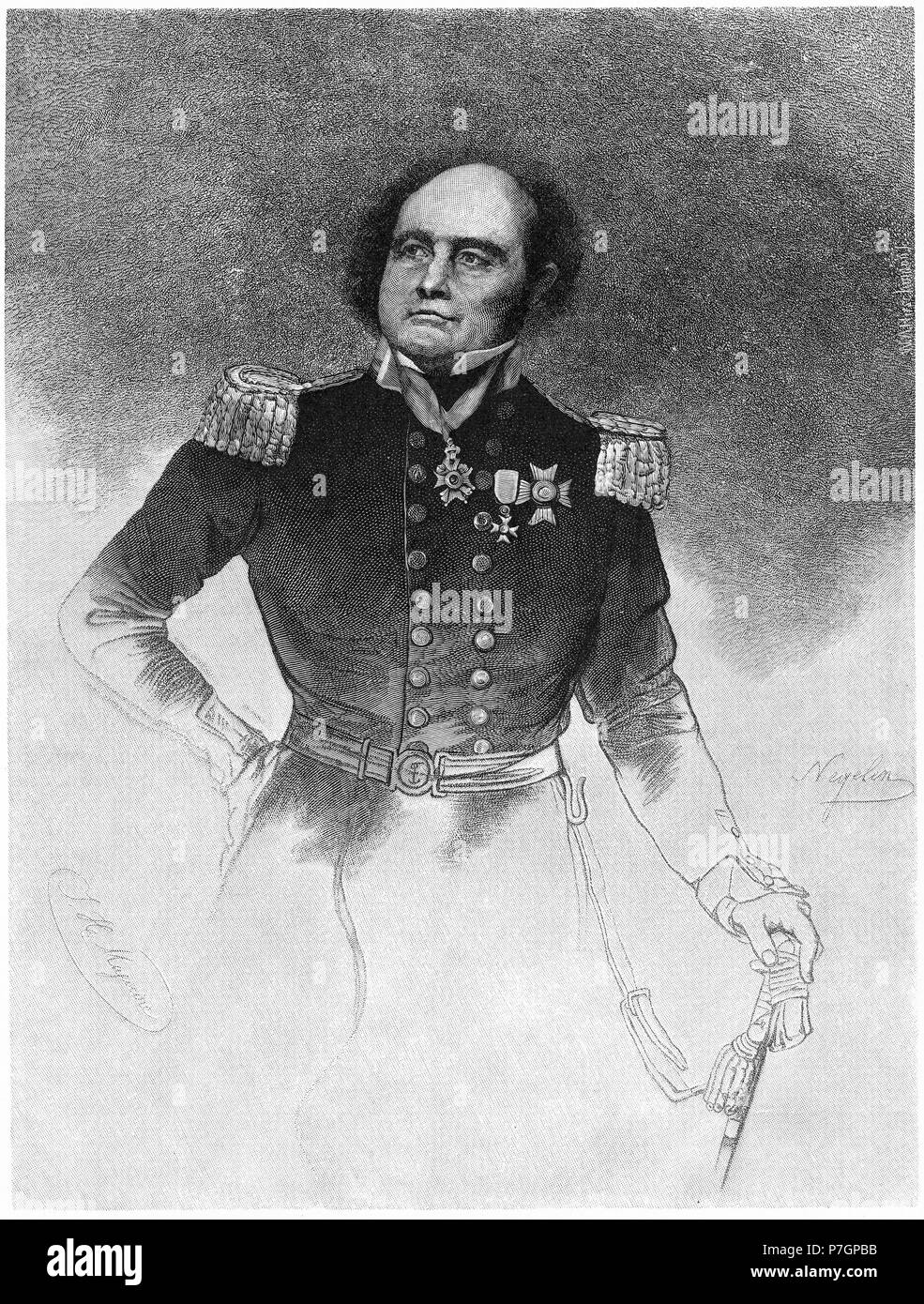 Engraving of Rear-Admiral Sir John Franklin KCH FRGS (1786 – 1847) English Royal Navy officer and explorer of the Arctic. Also Lieutenant-Governor of Van Diemen's Land (now Tasmania). From the Picturesque Atlas of Australasia Vol 2, 1886 - Stock Image