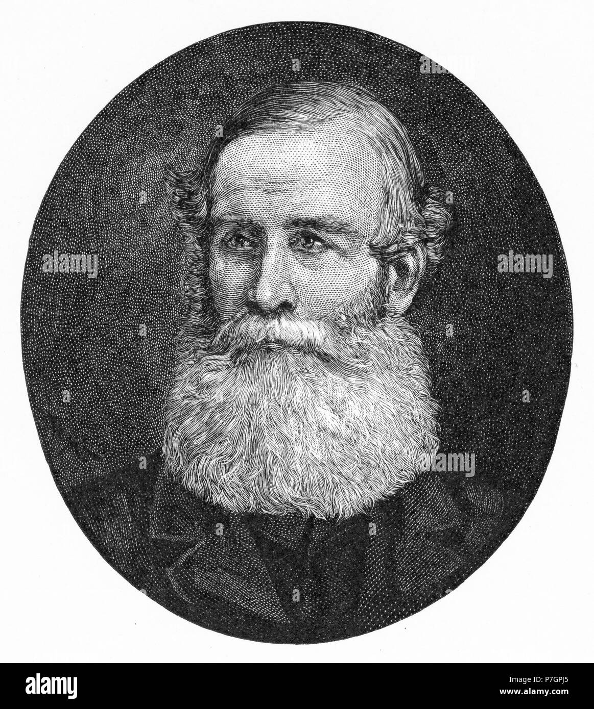 Engraving of Patrick Leslie (1815-79) Scottish pioneer of the Darling Downs, Queensland, Australia.  From the Picturesque Atlas of Australasia Vol 2, 1886 - Stock Image