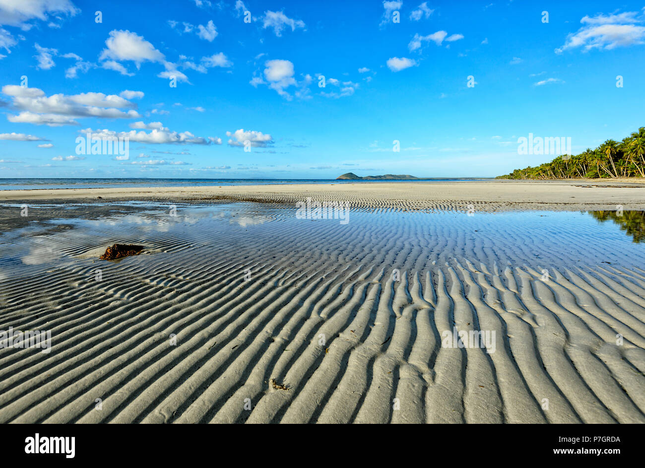 Sand patterns leading lines at Chilli Beach, Cape York Peninsula, Far North Queensland, FNQ, QLD, Australia - Stock Image