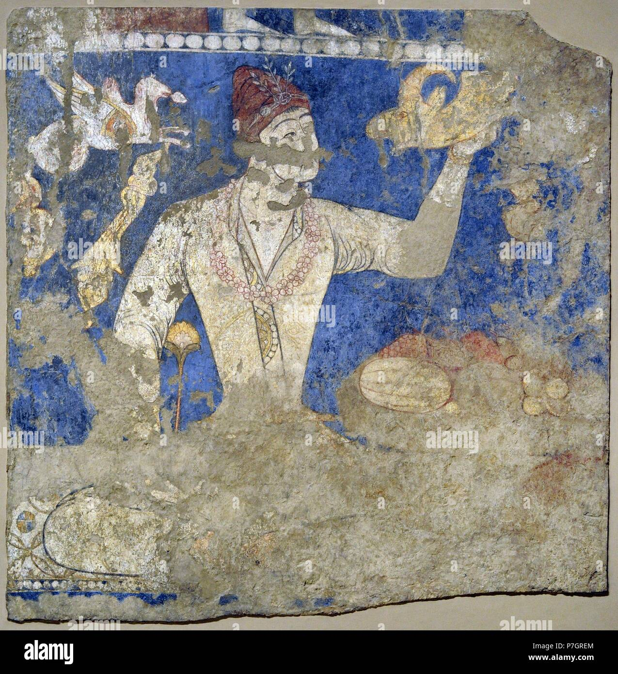 """Sogdia. Pre-Islamic Central Asia. Mural. Feasting ones """"Artists"""". Wall painting. Glue colour on dry loess plaster. First half of the 8th C. Penjikent, Tajikistan. Sector XXIV. Chamber 1. The State Hermitage Museum. Saint Petersburg. Russia. Stock Photo"""