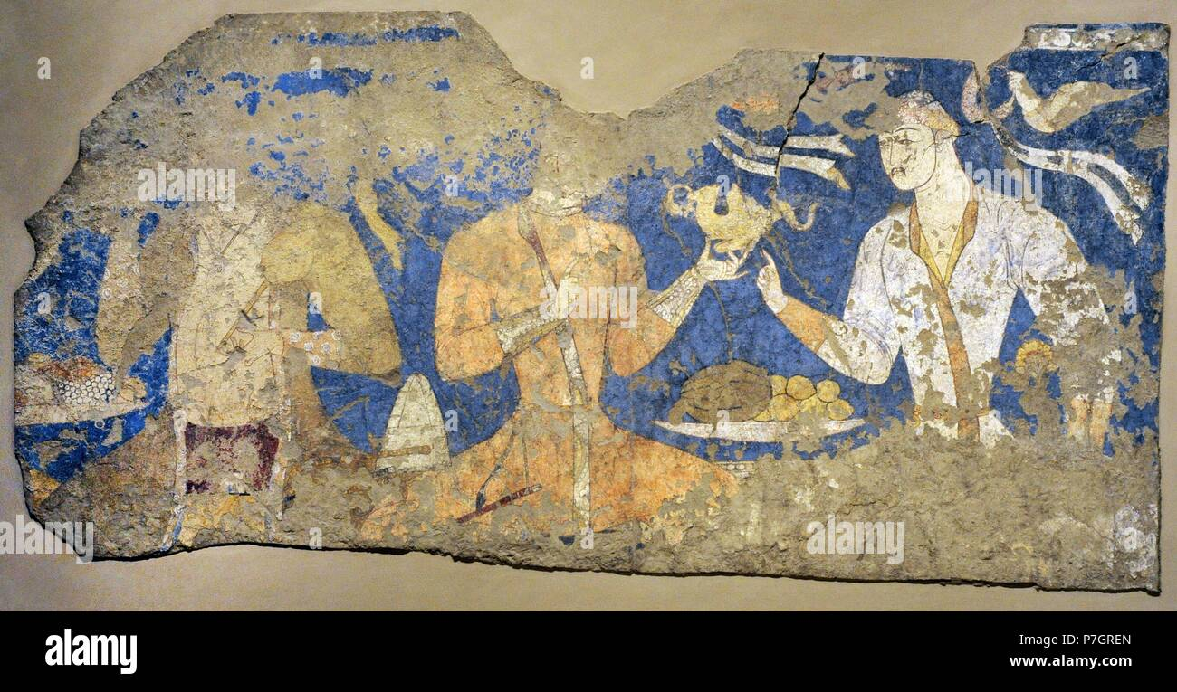 "Sogdia. Pre-Islamic Central Asia. Mural. Feasting ones ""Artists"". Wall painting. Glue colour on dry loess plaster. First half of the 8th C. Penjikent, Tajikistan. Sector XXIV. Chamber 1. The State Hermitage Museum. Saint Petersburg. Russia. Stock Photo"