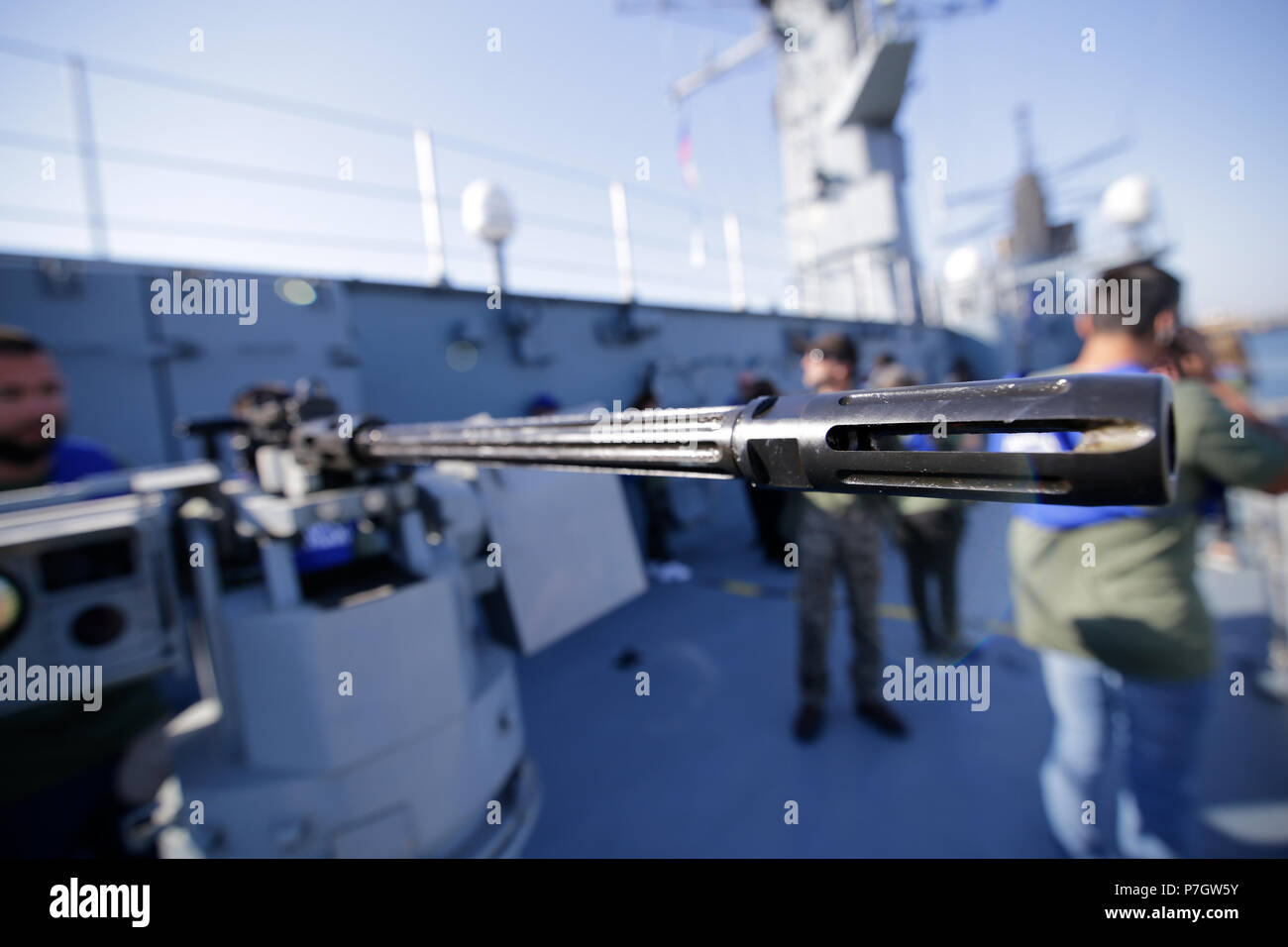 CONSTANTA, ROMANIA - JUNE 20, 2018: Details of the gun barrel of a 50 cal machine gun on June 20. - Stock Image
