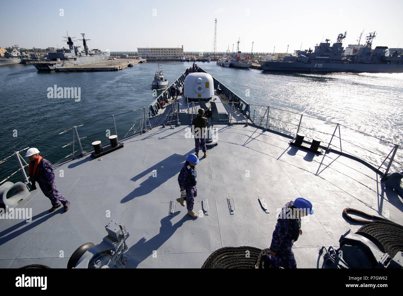 CONSTANTA, ROMANIA - JUNE 20, 2018: Romanian military sailors on deck of 'Regele Ferdinand' frigate, on June 20. - Stock Image