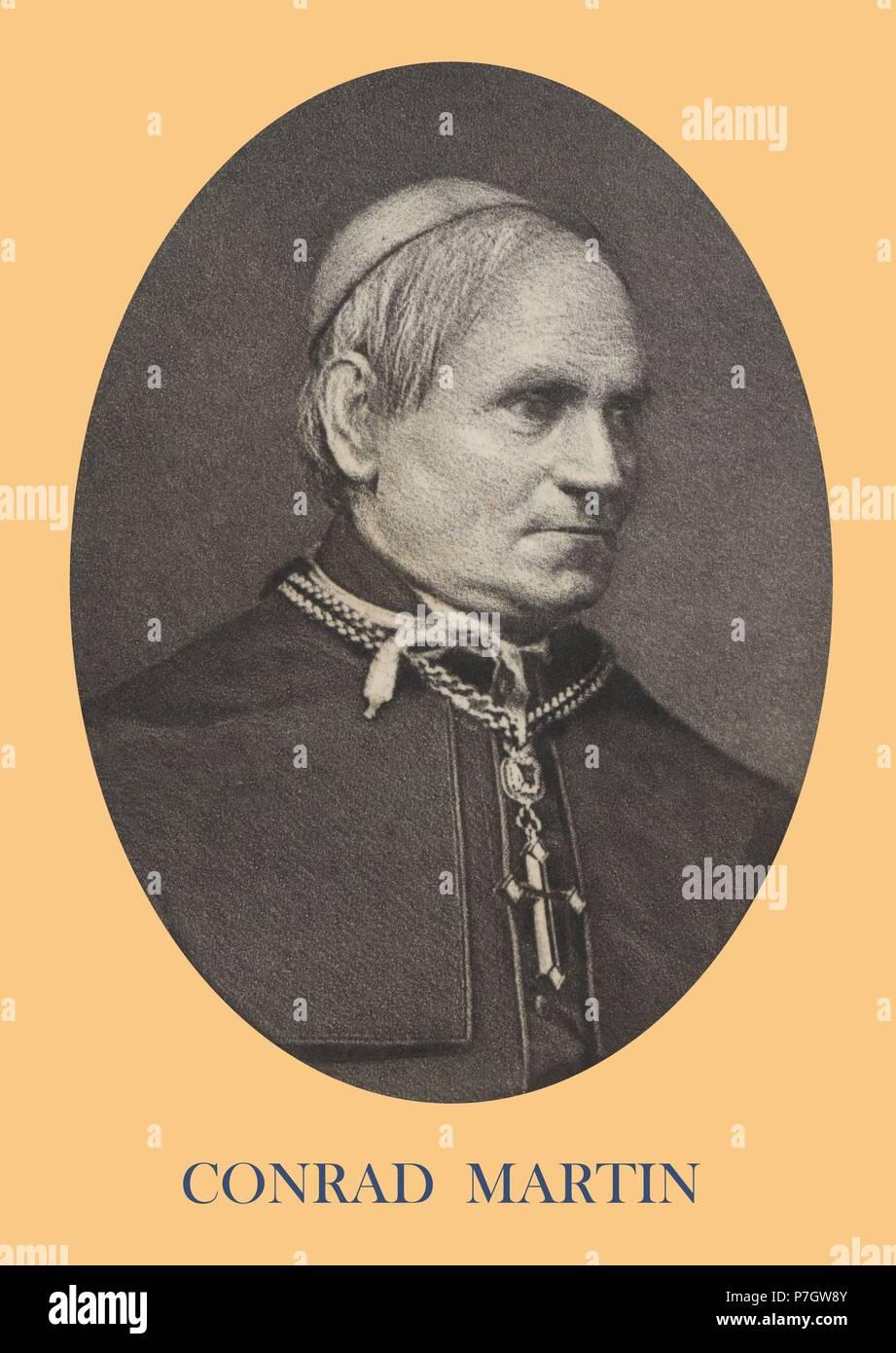 Conrad Martin (1812-1874), obispo de Paderborn, Prusia. Participó en el Concilio Vaticano I. Grabado de 1871. - Stock Image