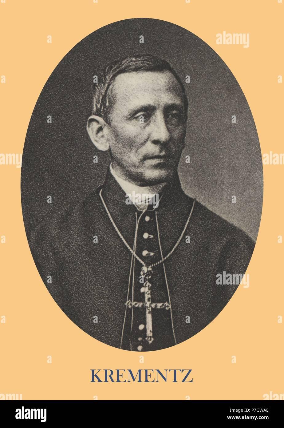 Philipp Krementz (1819-1899), obispo de Ermland, Prusia Oriental. Participó en el Concilio Vaticano I. Grabado de 1871. - Stock Image