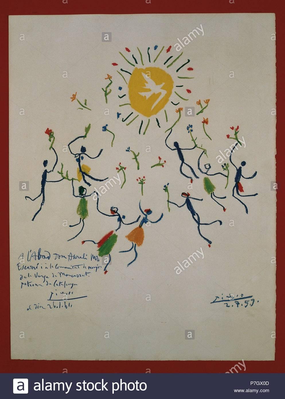 PICASSO, Pablo Ruiz (Málaga,1881-Mougins,Francia, 1973). Pintor español. 'LA SARDANA'. Litografía, 1959. Museu de Montserrat. Provincia de Barcelona. Cataluña. - Stock Image