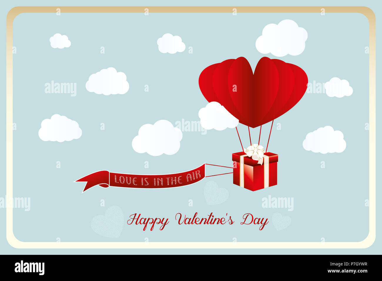 heart air balloon with flying gift for valentine and flying banner