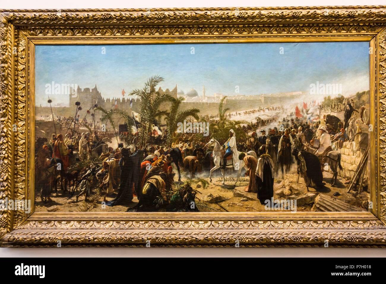 La llegada del príncipe heredero de Prusia en Jerusalem 4 de noviembre de 1869, Alte Nationalgalerie ,Antigua Galería Nacional, Isla de los Museos, Berlin, Alemania, europe. - Stock Image