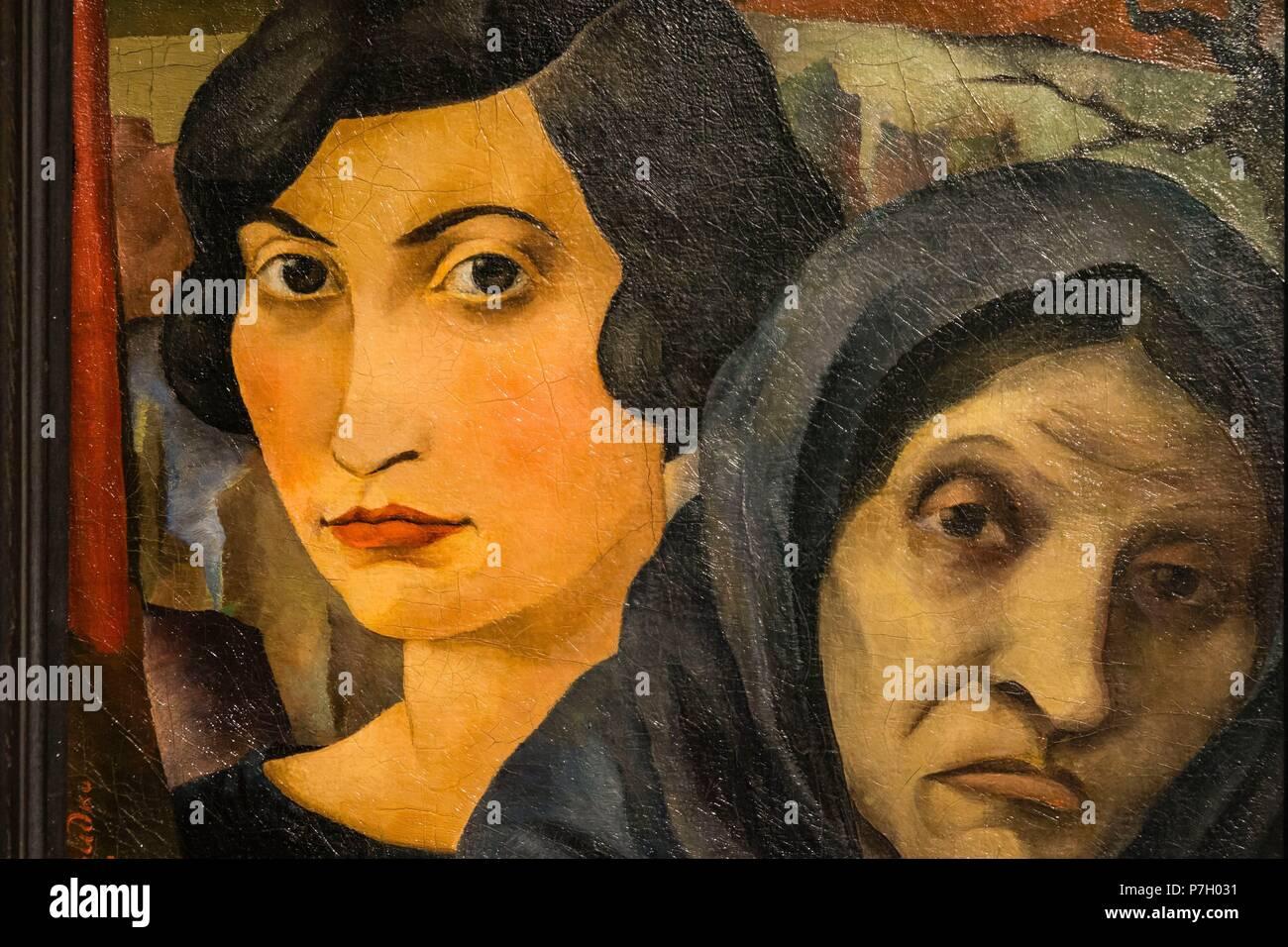 madre y hija, Joseph Budko, 1925, oleo sobre lienzo, Museo Judío de Berlín,diseñado por el arquitecto polaco Daniel Libeskinds , Berlin, Alemania, Europe. Stock Photo