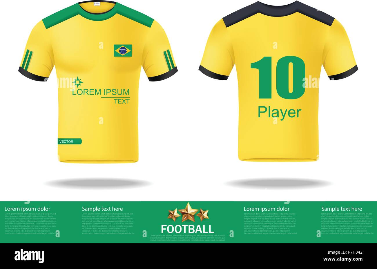 57a033369 Football yellow t-shirts Vector. Design template for soccer jersey ...