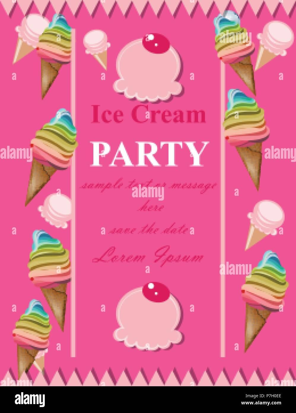 Ice Cream Pink Party Invitation Card Vector Summer Birthday