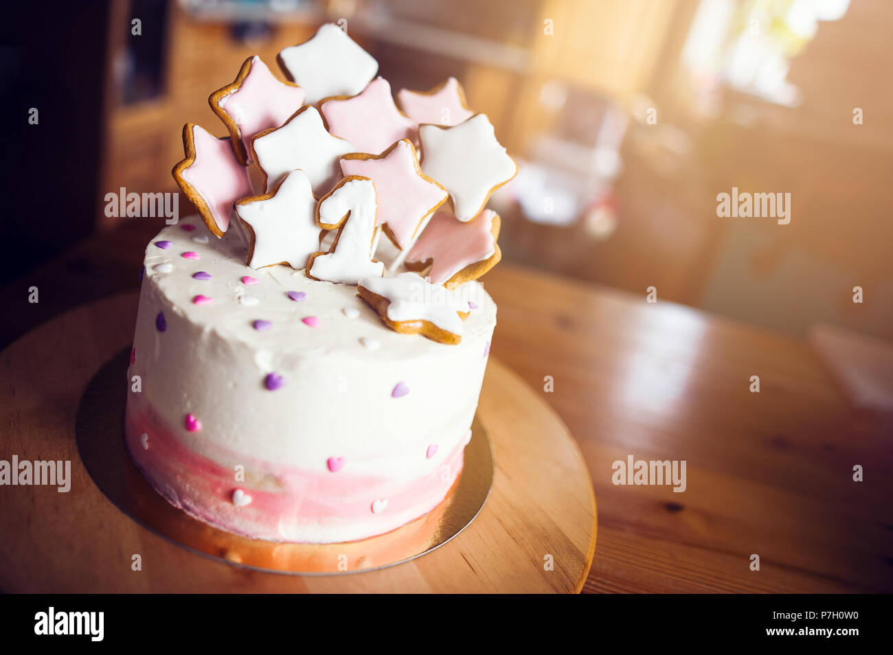 Stupendous Modern Birthday Cake With Gingerbread Stars And Number One Stock Funny Birthday Cards Online Hetedamsfinfo