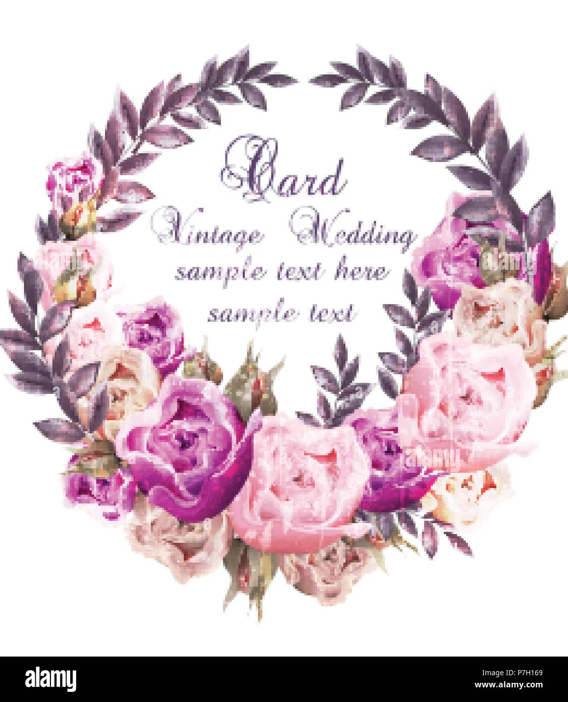 Vintage Wedding card with roses wreath Vector. Beautiful flowers ...
