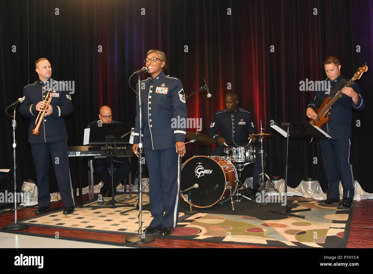Members of the Air National Guard Band of the Southwest rehearse before their performance at KTUL studio June 26, 2018 in Tulsa, Okla. As part of their annual tour, the band is performing in concerts across Kansas and Oklahoma. (Air National Guard photo by Senior Airman De'Jon Williams) Stock Photo