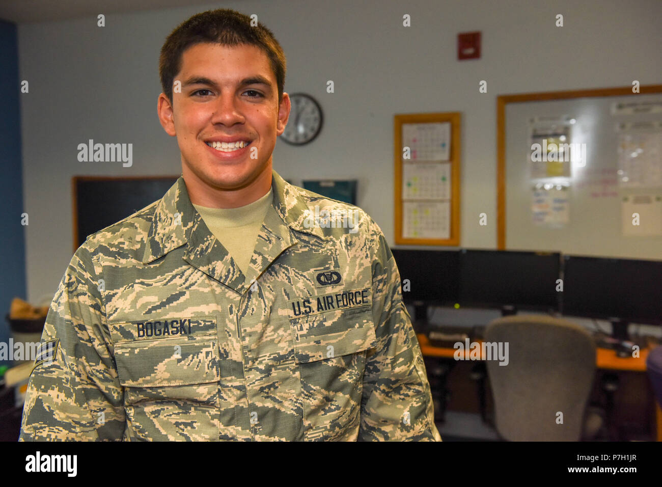 Aviation Resource Management Journeyman Airman 1st Class Corey Bogaski is a drill status Guardsman assigned to the 171st Air Refueling Wing Operations Support Squadron. A Beechview native, he has two and a half years of service in the Air National Guard. He is a sophomore at Community College of Allegheny County majoring in Engineering Science. Airman 1st Class Bogaski spends his free time as a boxer and a wrestler. (U.S. Air National Guard photo by Staff Sgt. Bryan Hoover) Stock Photo