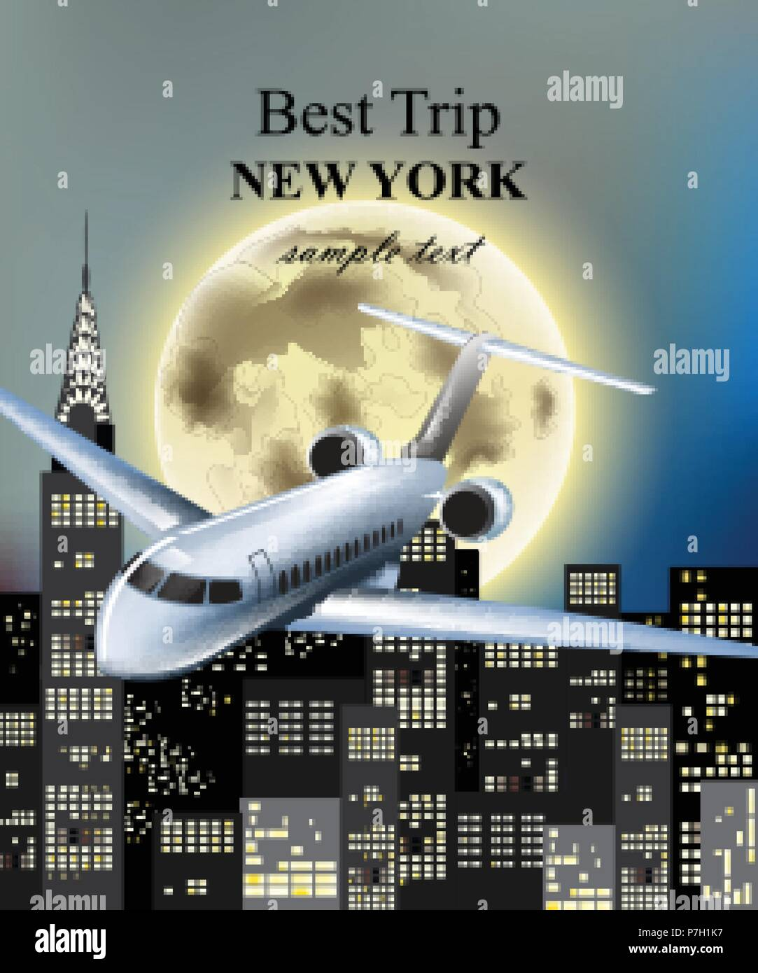 Plane flying over New York city at night Vector. Full moon and skyscrapers background - Stock Vector