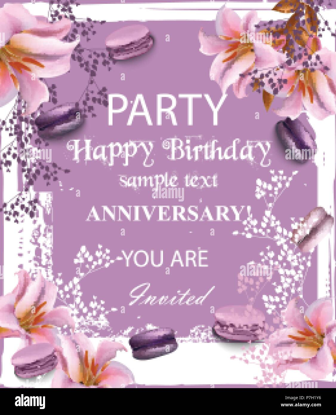 Birthday Party Invitation Vector Flowers And Macaroons Over Vintage Background Trendy Lilac Color