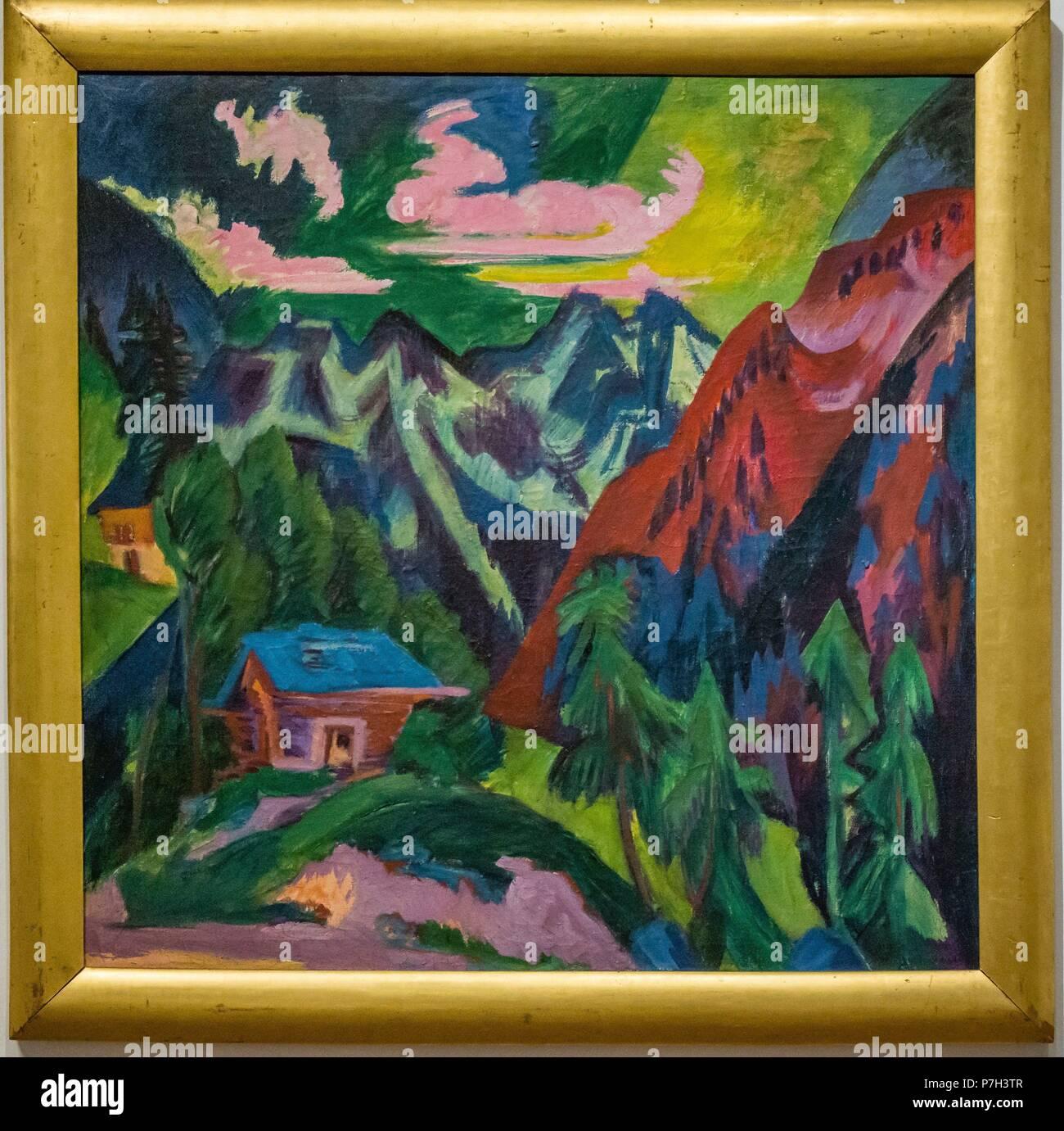The mountains of Klosters, 1923, Ernst Ludwig Kirchner, oil on canvas, Palacio Belvedere , estilo barroco, construido entre 1714 y 1723 para el príncipe Eugenio de Saboya, Viena, Austria, europe. Stock Photo