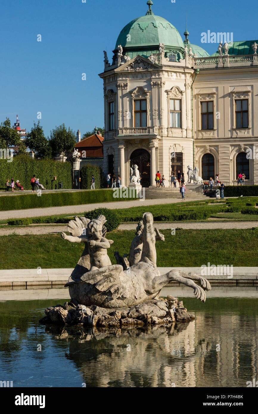 Palacio Belvedere , estilo barroco, construido entre 1714 y 1723 para el príncipe Eugenio de Saboya, Viena, Austria, europe. Stock Photo