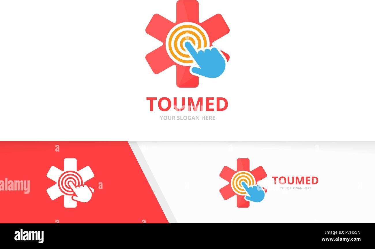 vector ambulance and click logo combination medic and cursor symbol