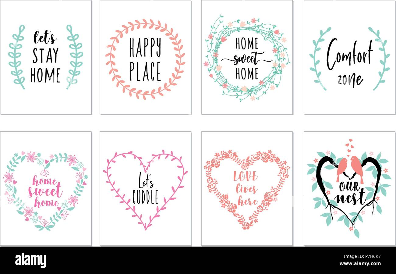 Home sweet home art prints, quotes wall art, set of vector graphic design elements - Stock Vector
