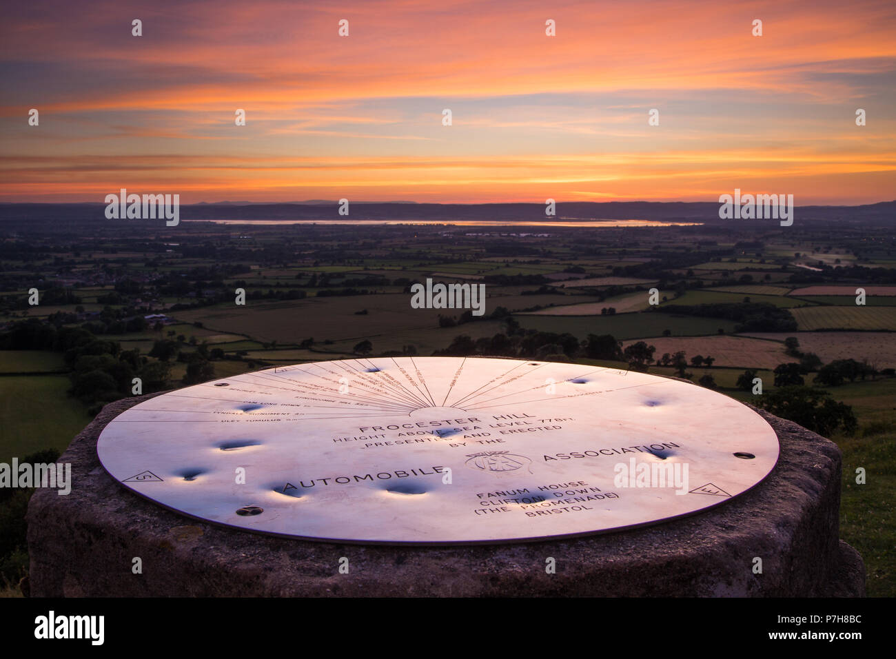 The topograph at Frocester Hill, Gloucestershire at sunset. Stock Photo