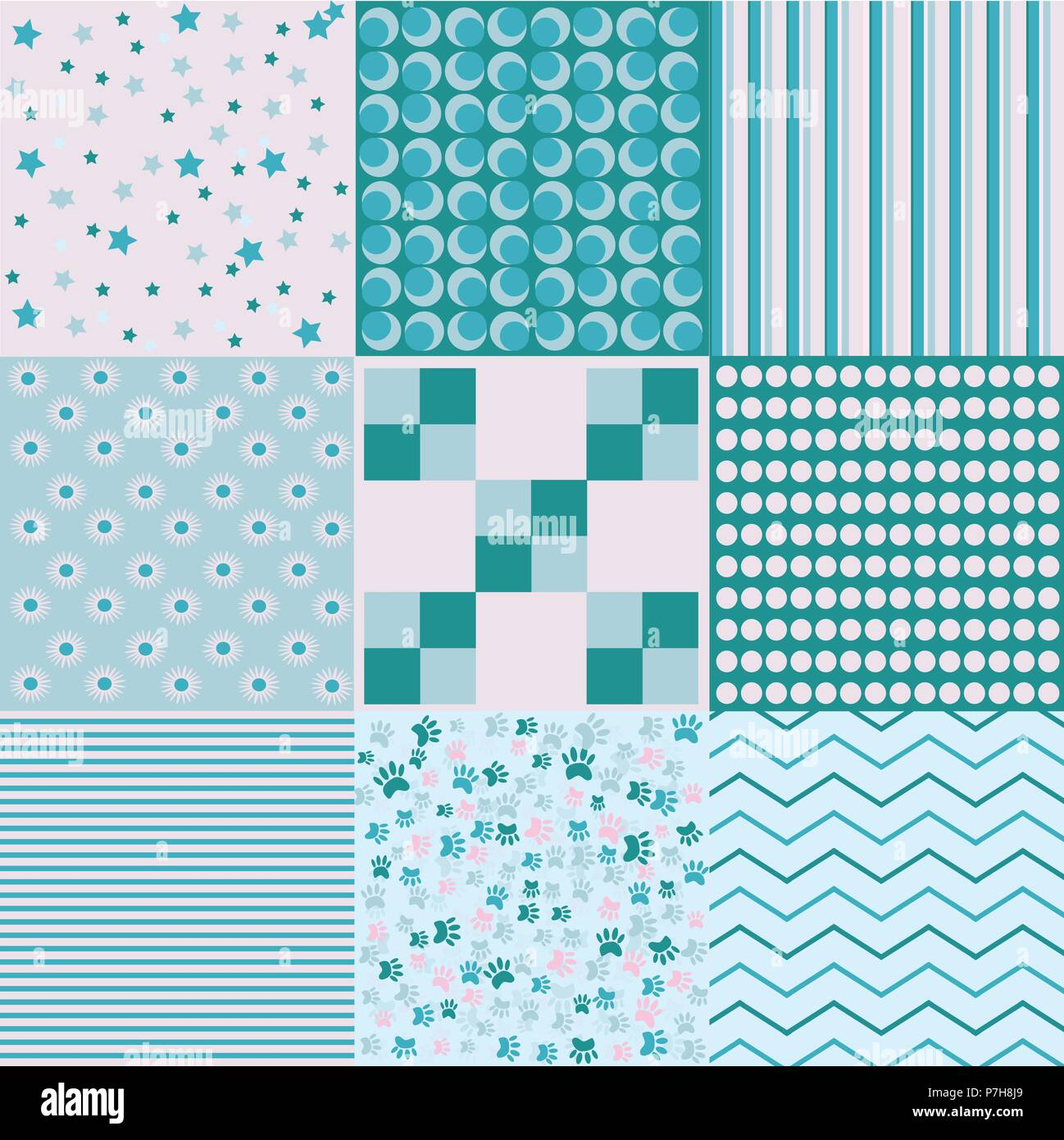 Design 8 Chic different vector patterns. Texture can be used for printing on fabric and paper or scrap booking. EPS vector background. - Stock Image