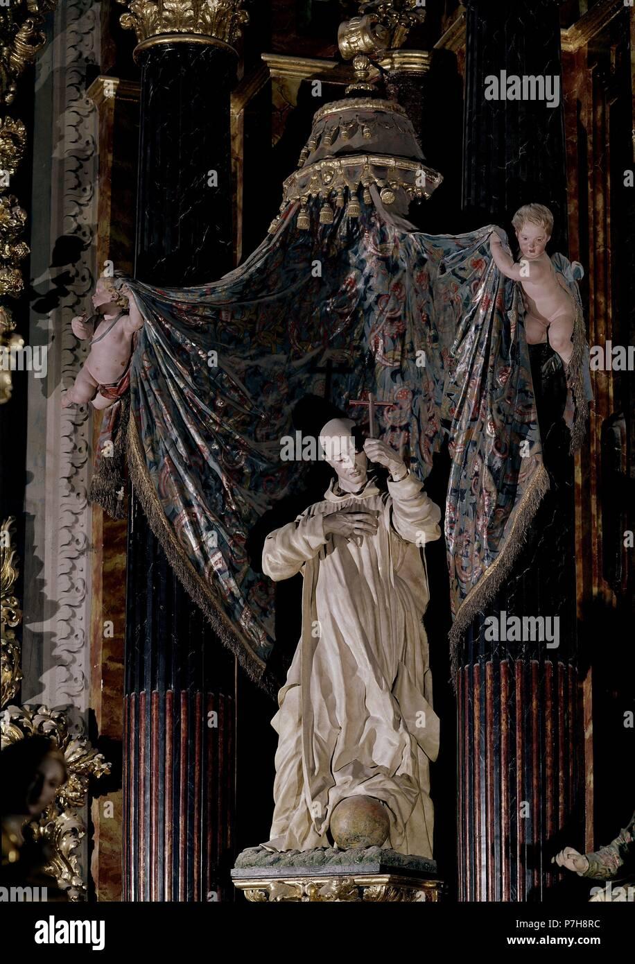 SAN BRUNO. Author: José de Mora (c. 1642-1724). Location: CARTUJA, GRANADA, SPAIN. Stock Photo