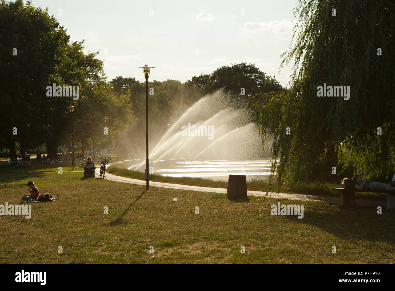hot day in city park somewhere at central Europe, june - Stock Image