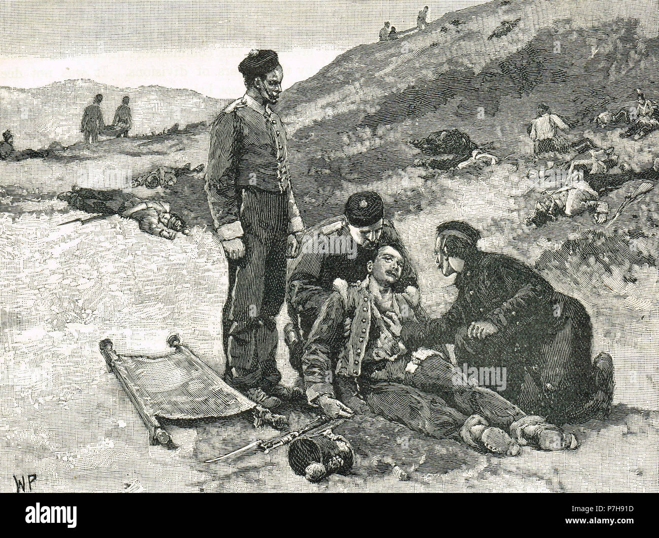 Tending to the wounded, following the Battle of the Alma, 20 September 1854 - Stock Image