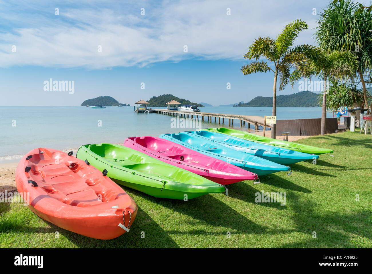 Colorful kayaks on the tropical beach in Phuket, Thailand. Summer, Vacation and Travel concept. Stock Photo