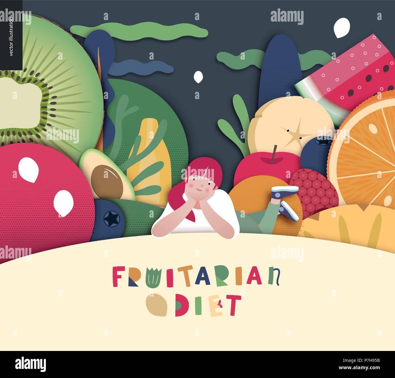 Fruitarian food diet- flat vector concept illustration, composition of a healthy fruit diet, young ginger girl lying on hill, night sky with clouds, F - Stock Vector