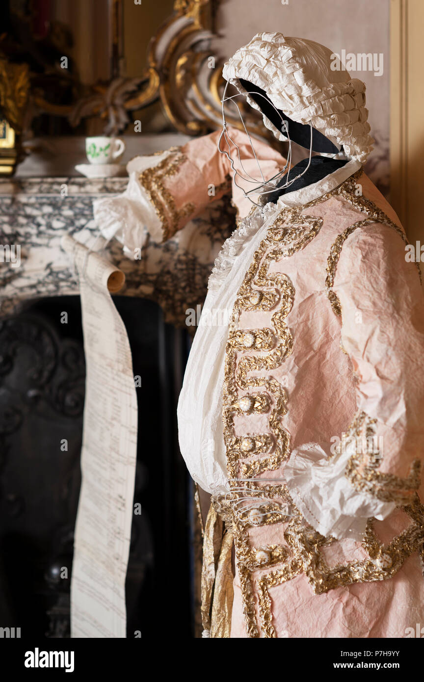 Mannequin wearing paper 18th century style clothing in Neues Palais - Stock Image