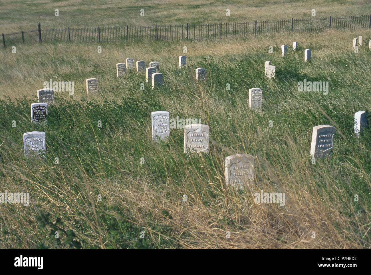 Custer Hill markers where 7th Cavalry soldiers' bodies were found, Little Bighorn Battlefield, Montana. Photograph Stock Photo