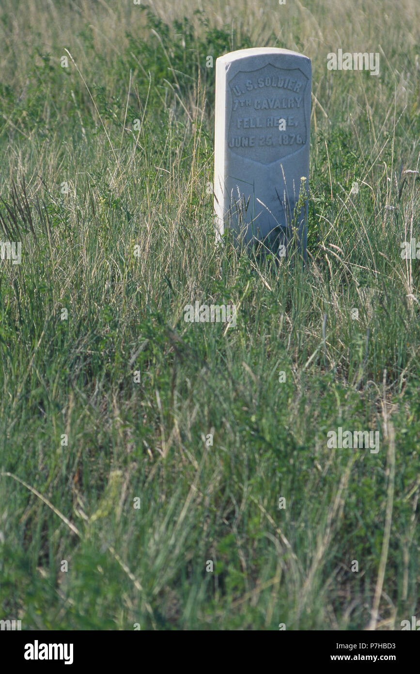 Marker where a 7th Cavalry soldier's body was found, Little Bighorn Battlefield, Montana. Photograph Stock Photo