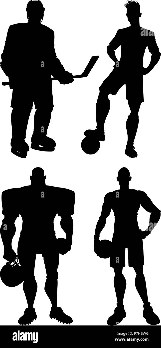 Athletes Silhouettes Set Stock Vector