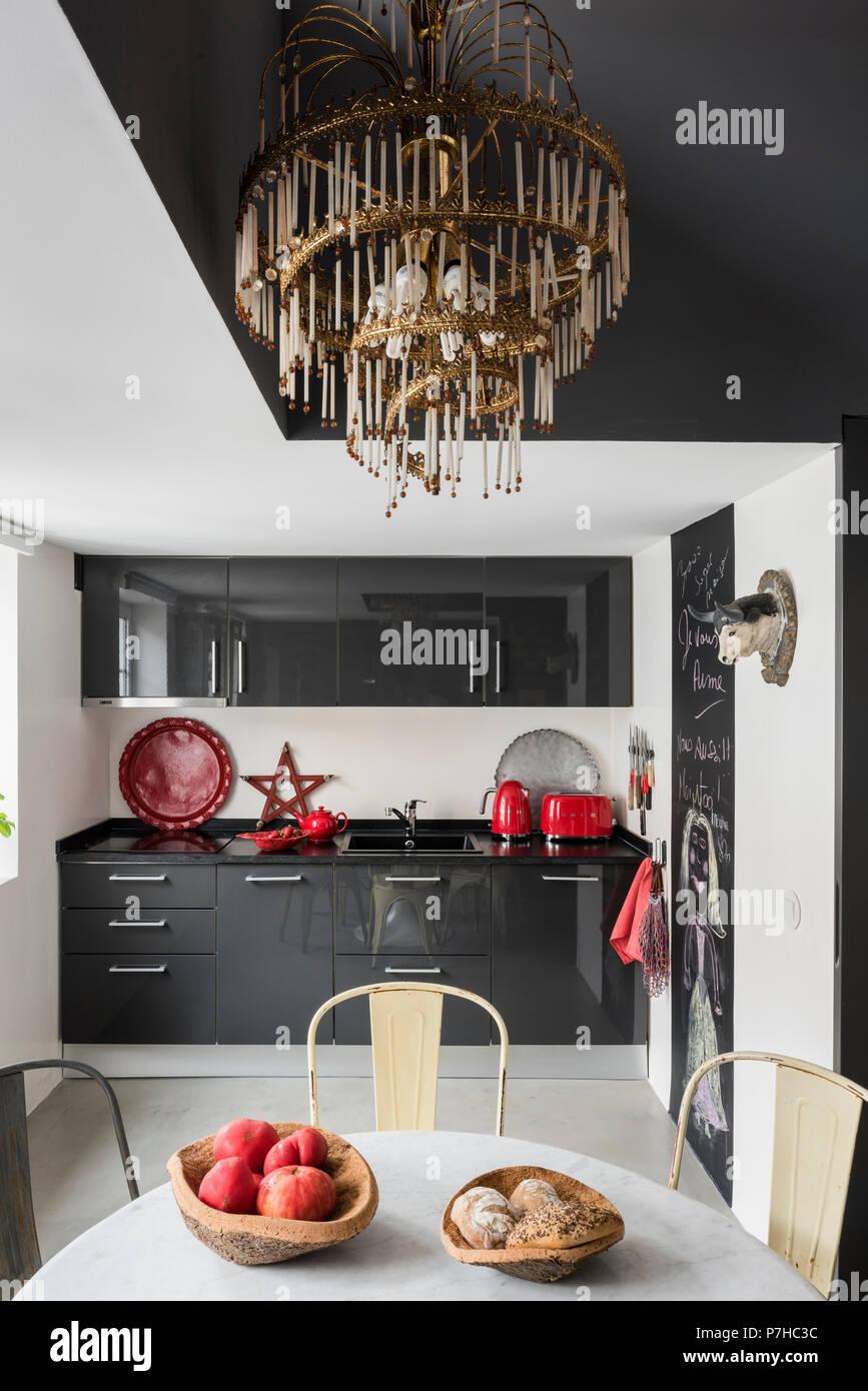 Fabulous Dark Grey Flat Fronted Kitchen Units In Modern Kitchen With Machost Co Dining Chair Design Ideas Machostcouk