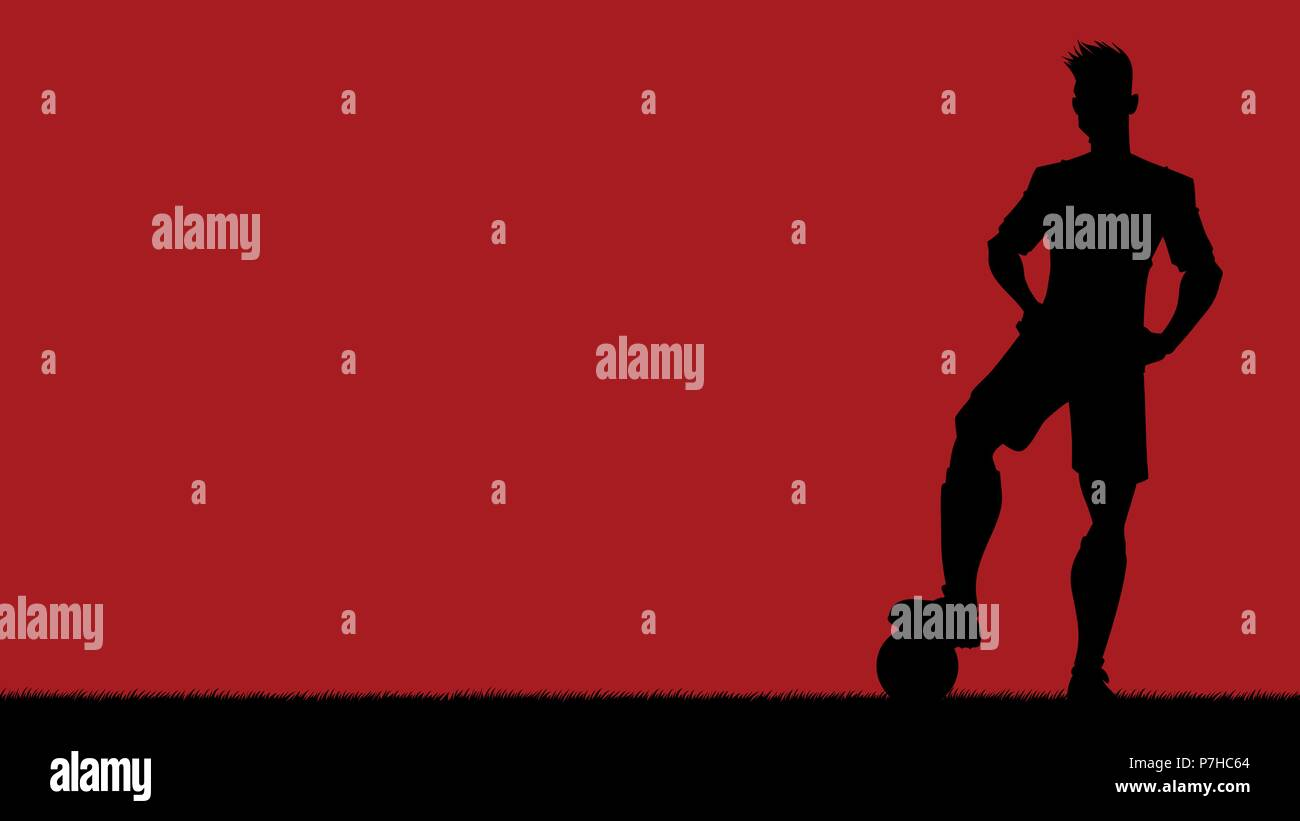 Football Player Silhouette Background - Stock Image