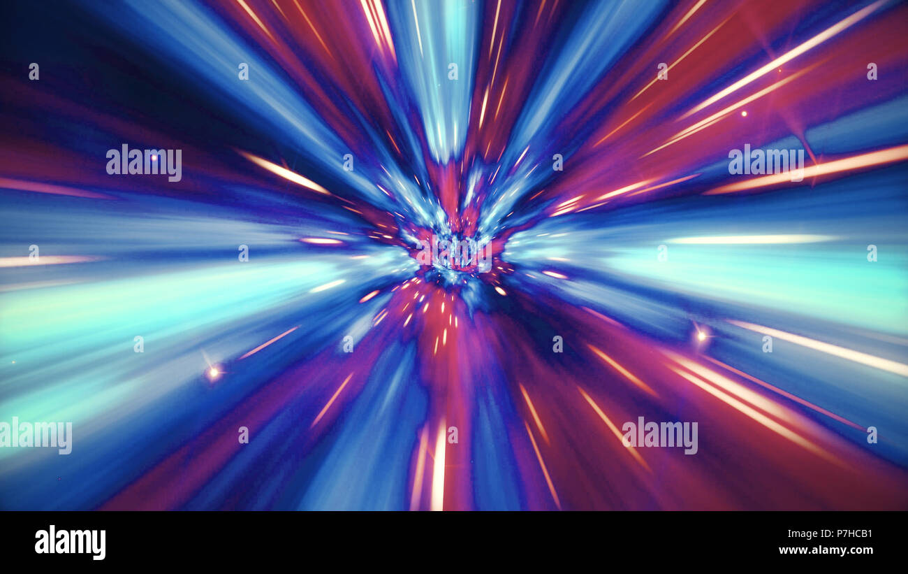Interstellar travel through a blue and red wormhole filled with stars. Space journey through time continuum. Warp in science fiction black hole vortex - Stock Image