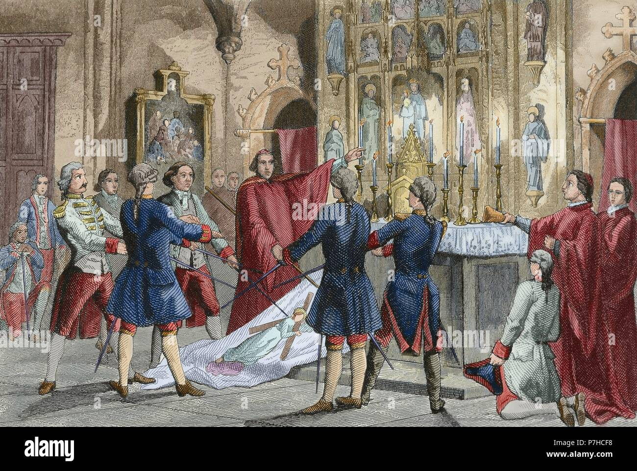 War of Spanish Succession (1702-1715). Oath of the captains of Barcelona who commands the troops of Antonio de Villarroel, Commander in Chief of the Army of Catalonia. Engraving by Urbadieta and J. Nicolau. 19th century. Colored. Stock Photo