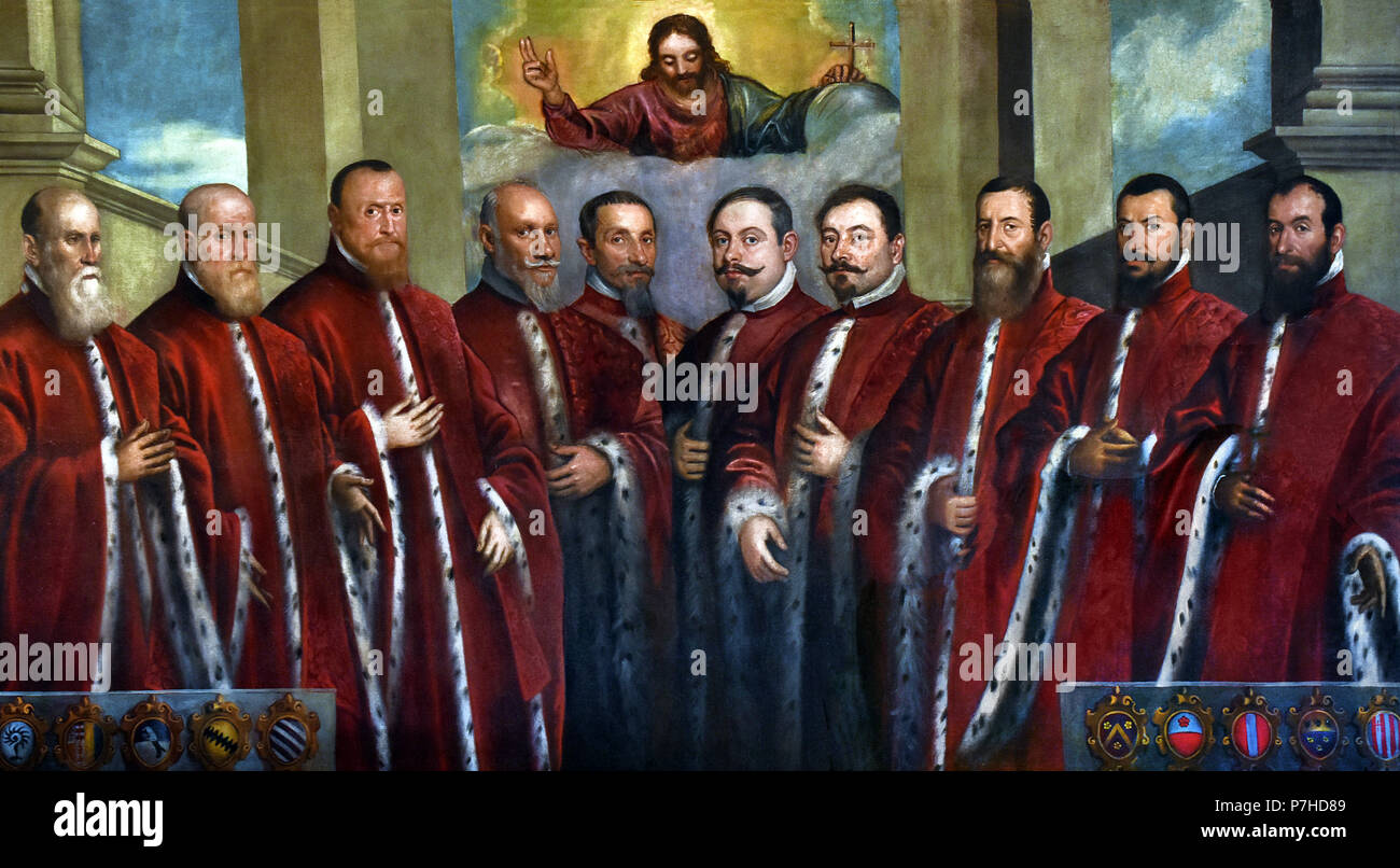Christ the Redeemer and portraits of ten Censors 1626 Domenico Tintoretto ( Jacopo Comin - Jacopo Robusti ) 1518 – 1594   The Doge's Palace ( Palazzo Ducale ) Venice, Italy. - Stock Image